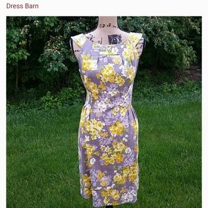 Dress Barn floral yellow gray dress size 16